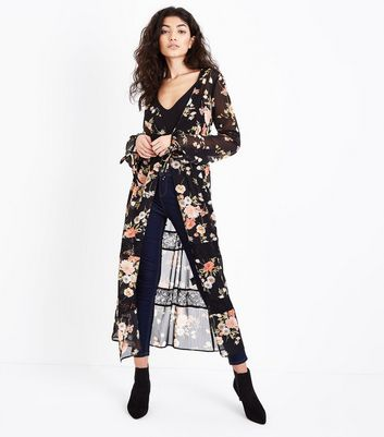 Black Floral Print Chiffon Lace Trim Longline Cover Up