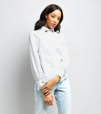 White Jewel Collar Shirt