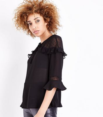Black Crepe Frill Trim Blouse
