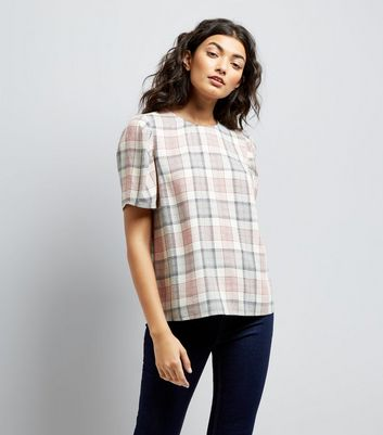 White Check Puff Sleeve Top