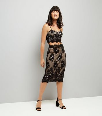 Parisian Black Scalloped Lace Midi Skirt