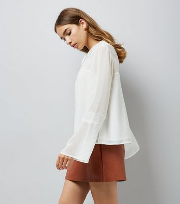 White Tie Front Lace Trim Blouse