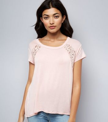 Apricot Pink Lace Back T-Shirt