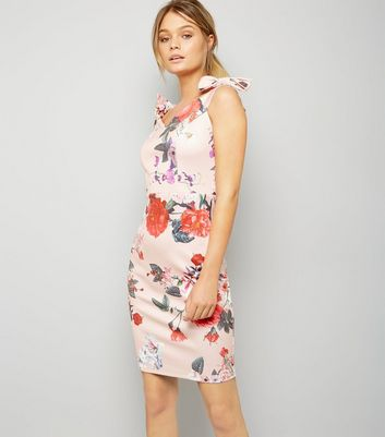 Parisian Pink Illustrated Floral Print Bodycon Dress