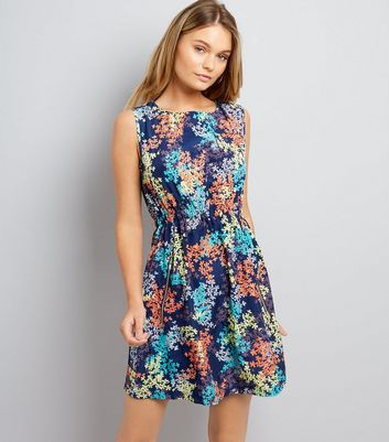 Apricot Navy Floral Print Zip Pocket Front Dress