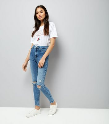 Blue High Waist Distressed Skinny Hallie Jeans