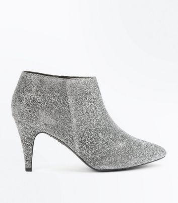 Silver Glitter Heeled Shoe Boots