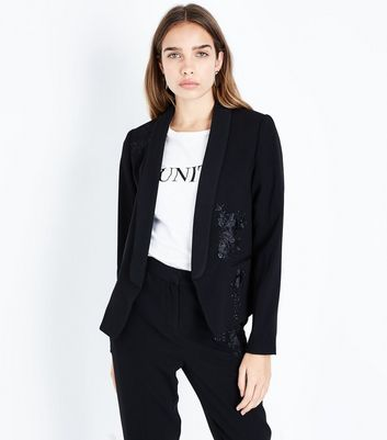 Black Rose Embroidered Tux Jacket
