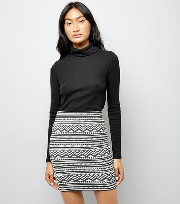 Black Aztec Pattern Jersey Tube Skirt