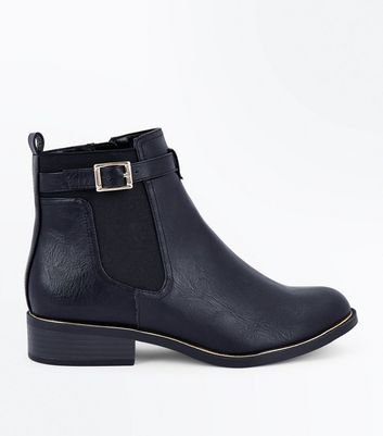 Black Metallic Trim Chelsea Boots