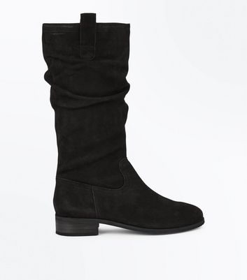 Black Leather Knee High Slouch Boots