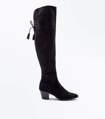 Black Suedette Tie Back Over The Knee Western Boots
