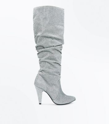Silver Glitter Knee High Heeled Slouch Boots