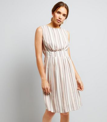 Apricot Pink Stripe Dress