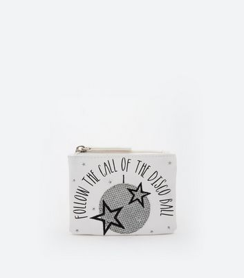 White Disco Ball Zip Top Coin Purse