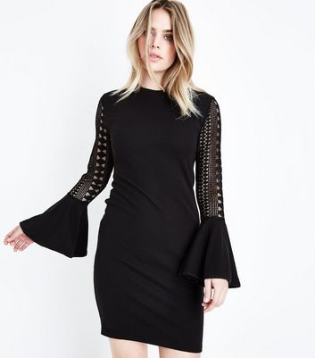 Mela Black Lace Bell Sleeve Mini Dress