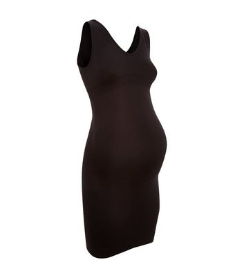 Maternity Black Seamless Slip Dress