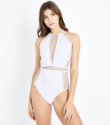 White Mixed Mesh Swimsuit