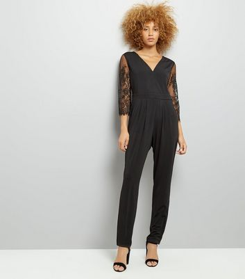Mela Black Eyelash Lace Sleeve Jumpsuit