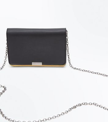 Black Colour Block Cross Body Bag