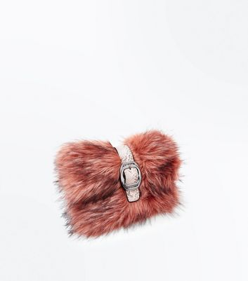 Shell Pink Buckle Front Faux Fur Clutch