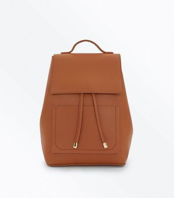 Brown Drawstring Pocket Front Backpack