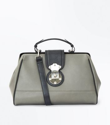 Dark Grey Contrast Handle Doctors Bag