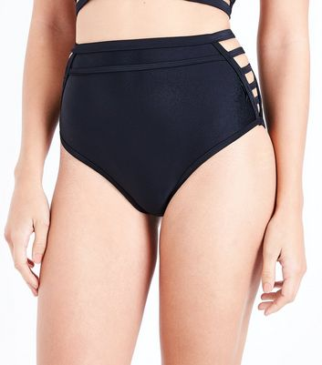 Black Lattice Side High Waist Bikini Bottoms