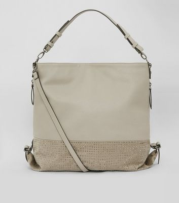 Grey Stud Panel Zip Side Shoulder Bag