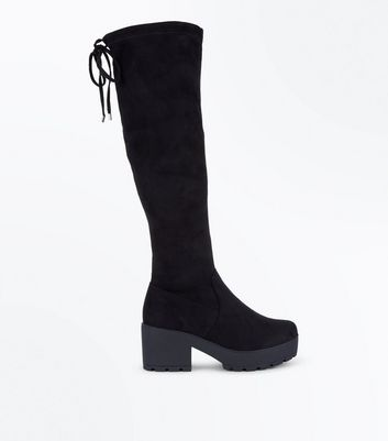 Teens Black Suedette Chunky Knee High Boots