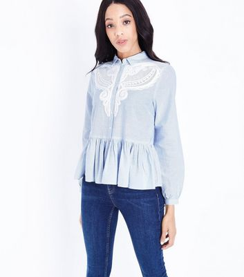 Blue Stripe Lace Front Peplum Hem Shirt