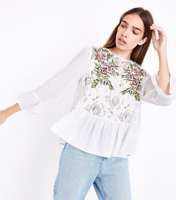 Cream Floral Cross Stitch Embroidered Lace Top