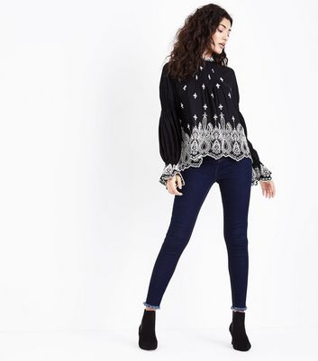 Black Broderie Frill Neck Blouse