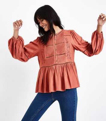 Rust Embroidered Crochet Trim Top