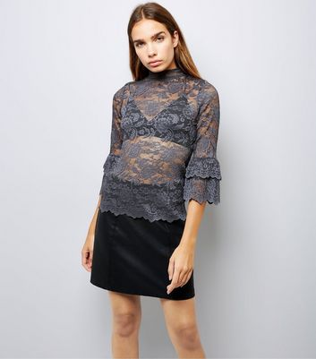 Grey Lace Frill Sleeve Top