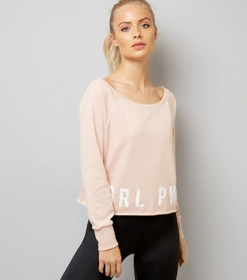 Shell Pink Grl Pwr Print Sports Sweater
