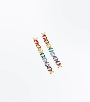Gold Rainbow Gem Embellished Drop Earrings