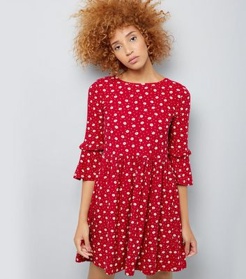 Red Floral Print Frill Sleeve Smock Dress
