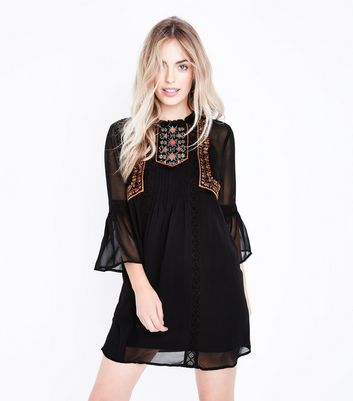 Petite Black Embroidered Bell Sleeve Smock Dress