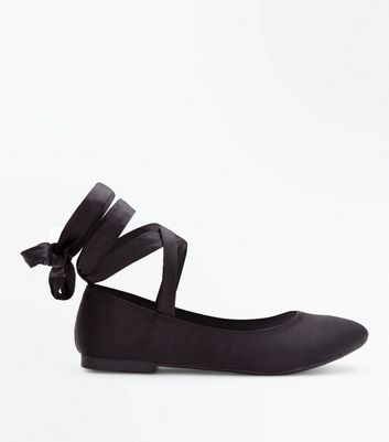 Black Satin Ribbon Ankle Tie Ballet Pumps