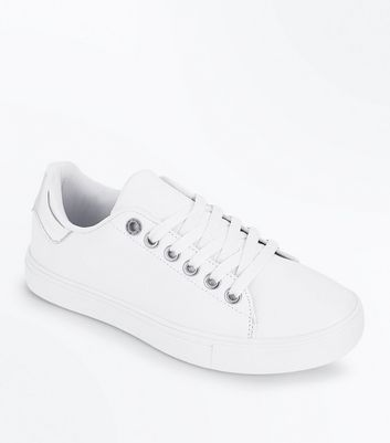 Teens Silver Mettalic Back Trainers
