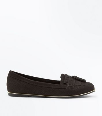 Black Snake Texture Fringe Trim Loafers