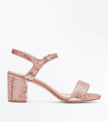 Teens Rose Gold Sequin Heeled Sandals