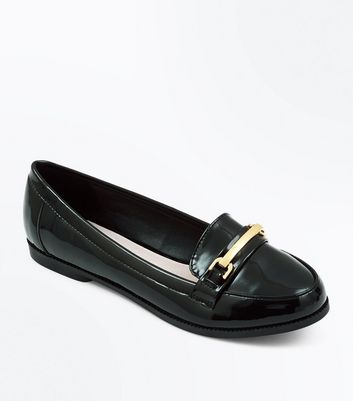 Wide Fit - Mocassins confort noirs vernis