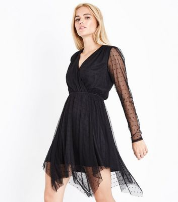 Black Spot Mesh Hanky Hem Wrap Front Dress