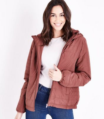 Deep Pink Hooded Puffer Jacket