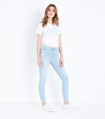 Bright Blue Raw Hem High Waist Hallie Jeans