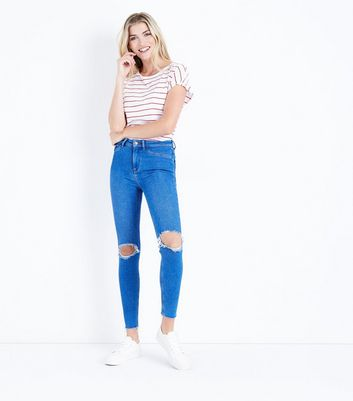 Bright Blue Ripped High Waist Super Skinny Hallie Jeans