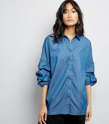 Blue Denim Puff Sleeve Shirt