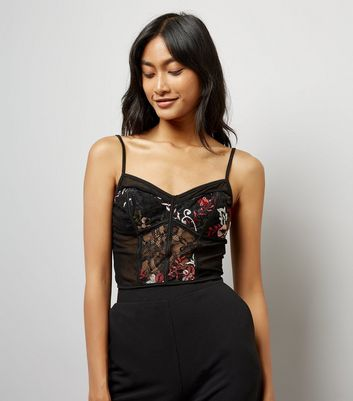 Black Floral Embroidered Mesh and Lace Bralet